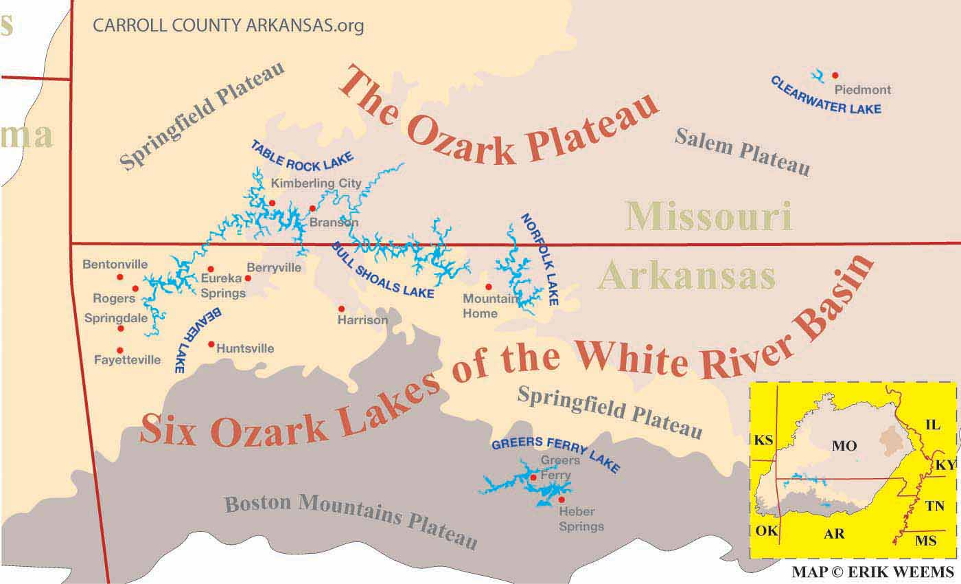 Ozarks Arkansas Map.The Ozark Plateau